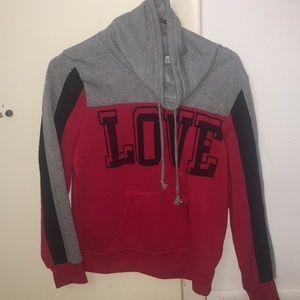 Red, black, grey hoodie that says love!